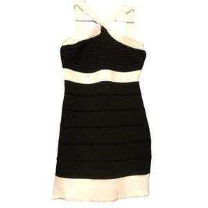 Say What? Black and White Halterneck Bodycon Dress